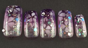 浴衣に合うネイルチップ紫