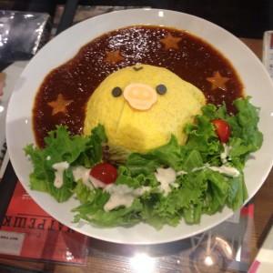 リラックマカフェ2015渋谷メニュー-キイロイトリのふわふわオムライス画像