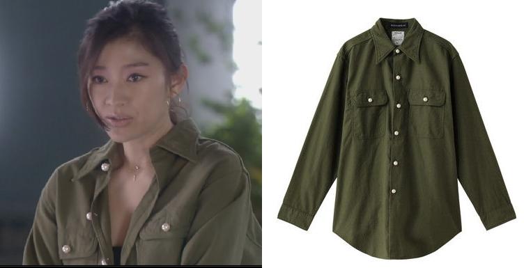 オトナ女子-篠原涼子-2話の服-パールボタンシャツ