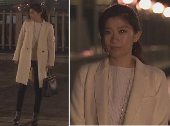 オトナ女子7話-篠原涼子着用白いコート-画像