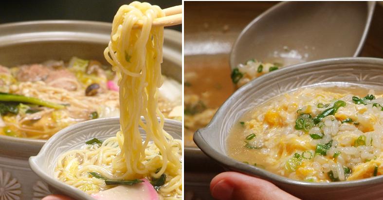 ヘルシー鴨鍋〆のラーメンと卵雑炊-画像