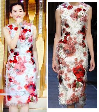 綾瀬はるか-2015年紅白着用ドルチェ&ガッバーナのワンピ-画像