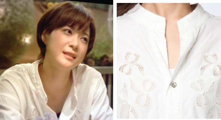 上野樹里がドラマ「家族のカタチ」で着ていた白いブラウス-画像