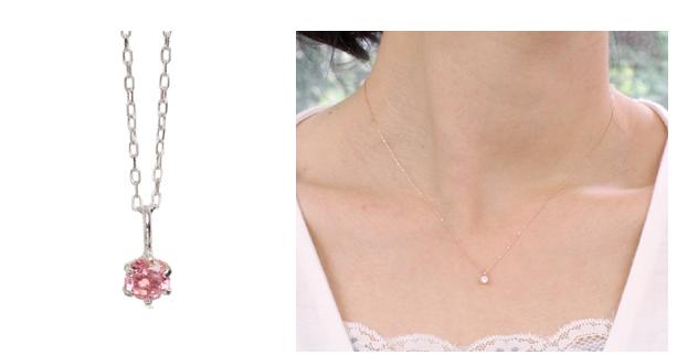 10月誕生石トルマリンの一粒ネックレス-画像