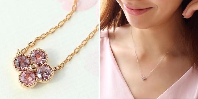 1月誕生石桜色シャンパンガーネットのネックレス-画像