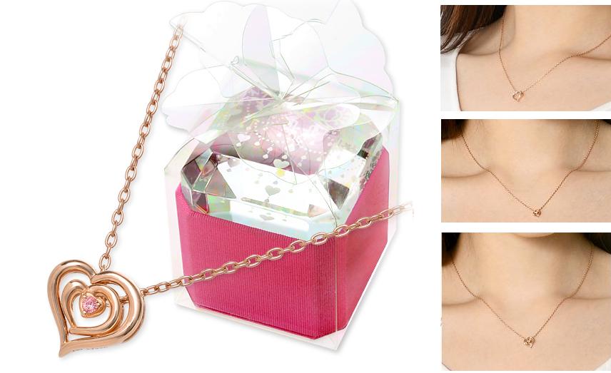 10月誕生石トルマリンのピンクゴールドハートネックレス-画像