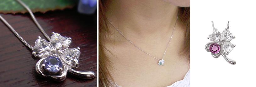 1月誕生石ガーネットの四つ葉のネックレス-画像