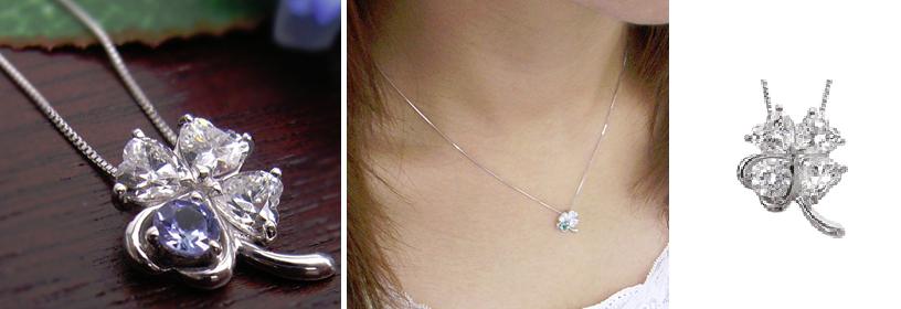 4月誕生石ダイヤ四つ葉のネックレス-画像