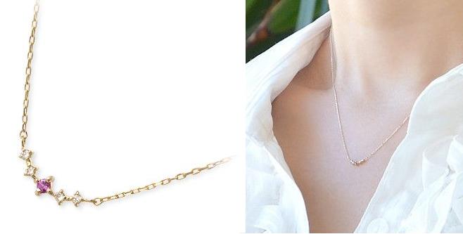 1月誕生石ガーネットのイエローゴールドネックレス-画像