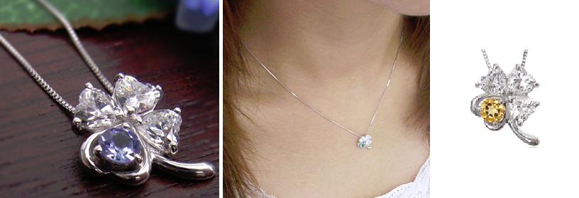 11月誕生石シトリンの四つ葉のネックレス-画像