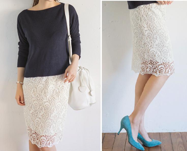 武井咲さん風白いスカート-画像