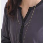【ゴールドのロングネックレス】人気のシンプルで華奢なK18ロングネックレス
