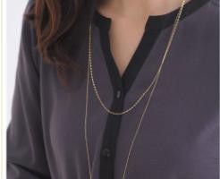 K18ゴールドのロングネックレス-画像