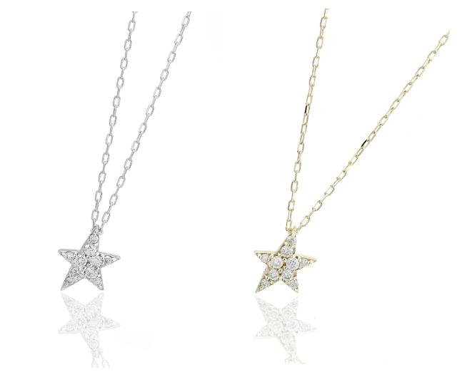 星モチーフーゴールドダイヤモンドネックレスー画像