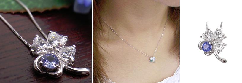 9月誕生石サファイヤの四つ葉のネックレス-画像