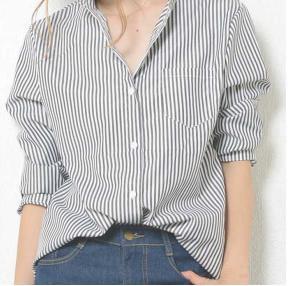 倉科カナ風ストライプシャツ-画像