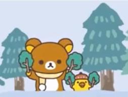 コリラックマを見守るクマとトリ-画像